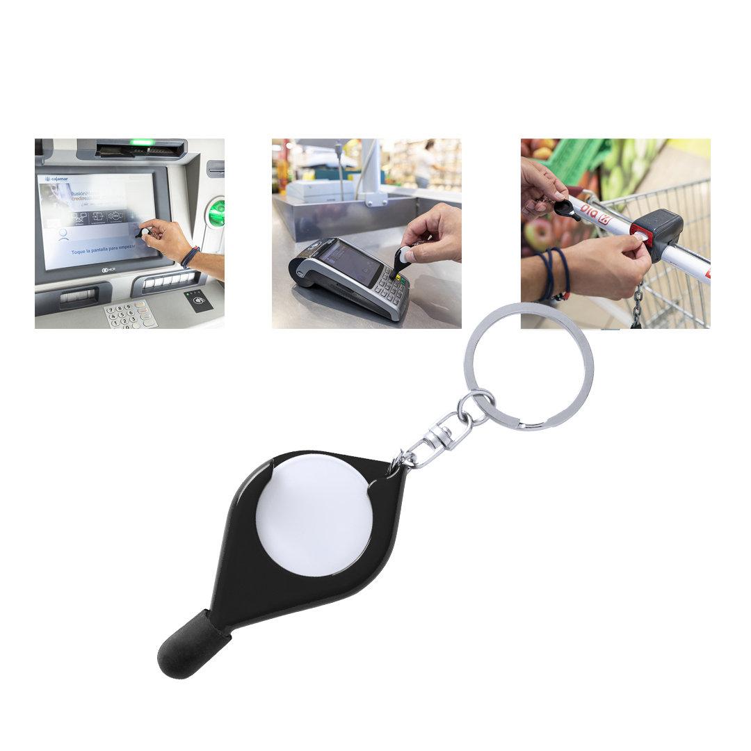 Porte-clés stylet bille avec jeton pour faire les courses