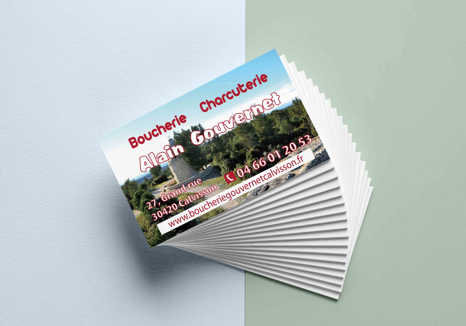cartes de visite Boucherie Calvisson