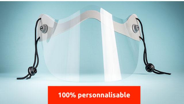Mini-visiere de protection translucide personnalisable